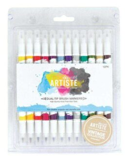 Marker Docrafts Artiste Pintselotsaga 2 otsa  Vintage 12 tk